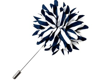 Navy Blue White Lapel Pin Striped Lapel Pin Groomsman Wedding Boutonniere Flower Pin Buttonhole Groomsmen Groomsman Groom Best Man