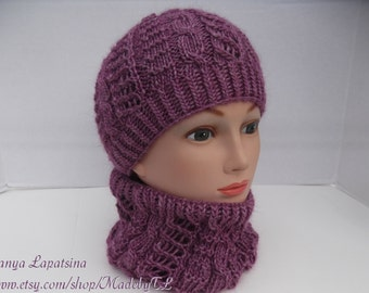 Purple Wool Hat and Cowl Set, Hand Knit Girl Hat and Cowl Set, Knit Wool Hat and Cowl Set, Knit Hat Cowl Set for Teens