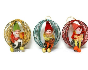 Vintage Christmas Tree Elf Ornaments (c.1960s) Three Santa's Helper Elves Mid-Century Retro Holiday Decorations