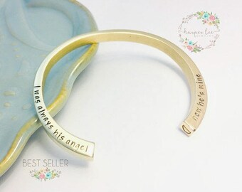 GOLD Cremation ~ Double Urn ~ Hand Stamped Bangle Cuff ~ Remembrance Jewelry ~ Memorial Bracelet ~ I was always his angel now he's mine
