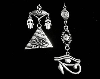 EVIL EYE earrings, gothic jewelry, eye of horus, egyptian jewelry,  asymmetrical earrings, darkwave, occultism, protection sheild, sorceress