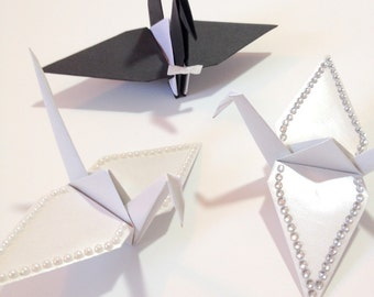 Origami Cake Toppers, Small Bride & Groom, Origami Crane Cake Toppers, Origami Bride and Groom, Origami Wedding, Origami Cranes