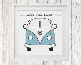 Adventure Awaits VW Van PDF Cross Stitch Pattern