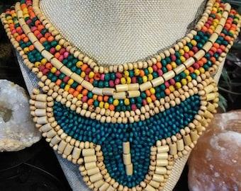 Boho wood bead necklace