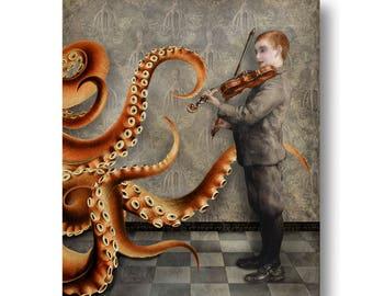Octopus Violin Nautical Portrait Gray Orange Print Digital Art Surreal Home Decor Beach House Squid Lovecraft Concert