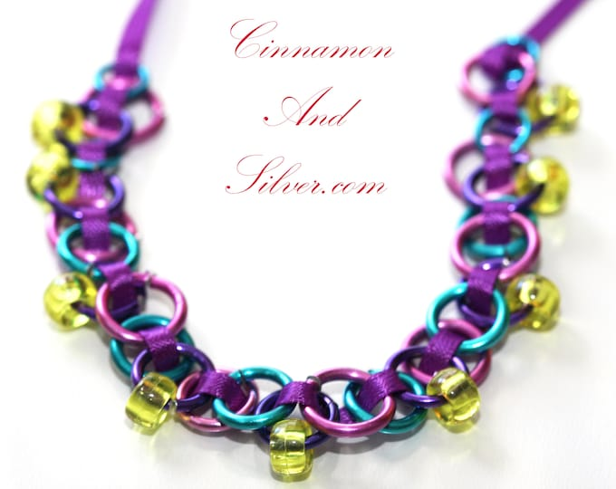 Purple Woven Ribbon and Beaded Chainmaille Necklace, Purple Ribbon Wrap Bracelet, Yellow Pony Bead Necklace, Woven Chainmaille Necklace