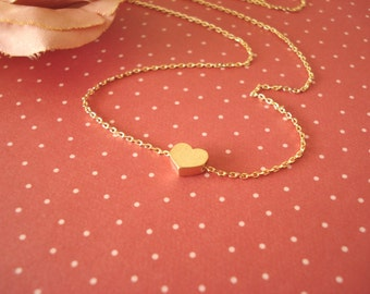 Tiny gold heart necklace...simple handmade jewelry, everyday simple, bridal jewelry, wedding, flower girl, bridesmaid gift
