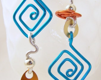 Handmade Aluminum Mix Up earrings in turquoise, orange, gold, silver, trendy and fun ITEM NO MU2