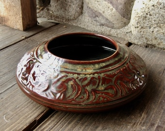 Studio Pottery Squat Vase, Arts and Crafts Influence, Earth Tones, One of a Kind, FREE SHIPPING!