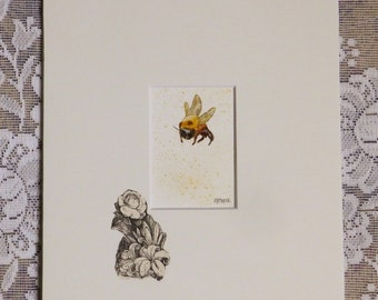Bee Painting, bee art, insect art, bumble bee, entomologist gift, nature art, original mini painting