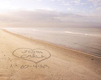 Personalized Beach Art- Names Written in Sand- Gift for Sweetheart- Anniversary Gift- Beach Wedding Gift Idea- Custom Valentine's Day Gift