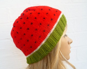 Watermelon Beanie Hat - Hand Knitted Hat - Women Men Water Melon Beanie - Fruit Knit Beanie Hat,  Kawaii Knitted Hat - ClickClackKnits