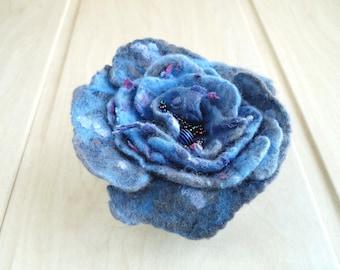 Brooch flower rose jeans felted wool