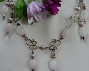 "Rose quartz choker and earrings with bronze*polished rose quartz adjustable necklace and dangle earrings*13""choker to 16"" necklace"