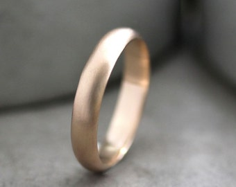 Men's Gold Wedding Band, 4mm Half Round Recycled Metal 14k Gold Wedding Ring Wedding Jewelry -  Made in Your Size
