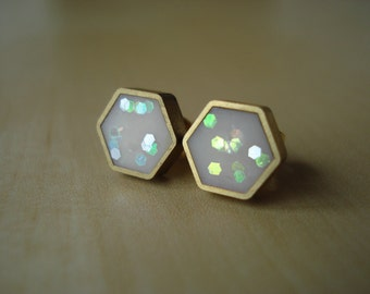 ivory translucent confetti glitter mini brass hexagon stud earrings