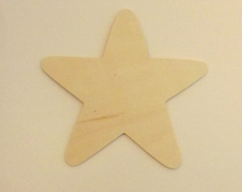 """Large 5 1/2"""" Unfinished Wood Stars for painting and staining wood crafts (Per Piece)"""