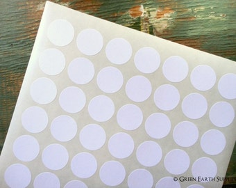 "315 Recycled White 1"" Circle Stickers, 1"" (25mm) round stickers, blank planner labels, eco-friendly 1-inch circle stickers (5 sheets)"