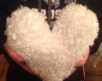 Medium, White Faux Fur, Heart Shaped Pillow, Valentine Pillow