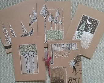 Journel,hand made, art cards,greeting in Penn and ink
