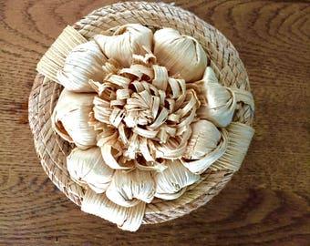Handmade Straw Lidded Basket with Flower Top
