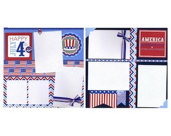Happy July 4th - Premade Patriotic Scrapbook Page Set