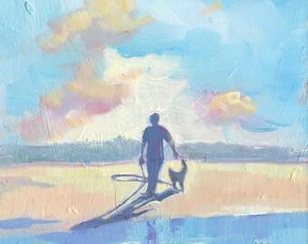 """Norfolk Beach Oil Painting. """"Evening Walk"""" Original Art. Home Decor. Wall Art. Coastal Wall Art.  Housewarming Gift. Original Oil Painting."""