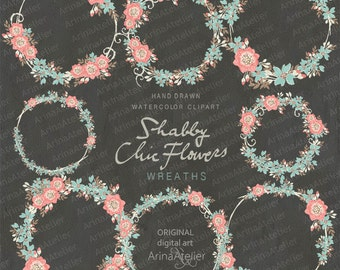 Shabby Chic Flowers WREATHS - Chalkboard - card template and digital papers, Clip art, scrapbooking, wedding invitations, Flower Wreaths