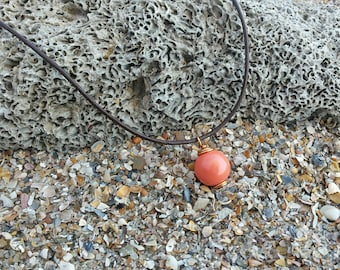 Peach Swarovski Glass Ball Wire Wrapped Pendant- Leather Necklace with Peach Circle Pendant- Layering Choker Necklace- Bohemian Necklace