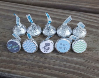 88 Hershey Kiss Labels  - Stickers for Candy Kisses - Robot Party or Robot Shower