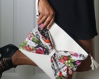 Pink Green Bow Clutch, Paris Bow Clutch Bag, Faux Leather Clutch, Large Clutch, Leather Clutch, Wristlet Clutch, Bow Clutch Bag, Bow Purse