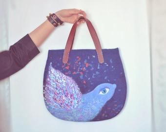 Felted bag Blue bird