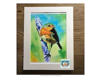 Watercolour Robin Print, Wild Bird Print,  Wildlife print, Wall Art, Bird Art Print, Bird Illustration, English Robin Print