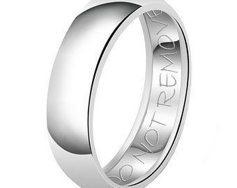 8mm Do Not Remove Engraved Classic Sterling Silver Plain Wedding Band Ring