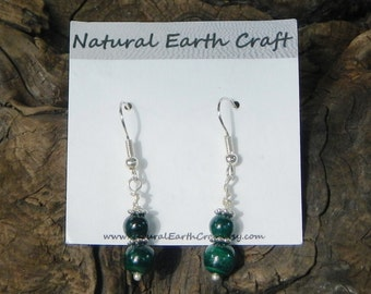 Green malachite earrings semiprecious stone jewelry packaged in a colorful gift bag 2411 A