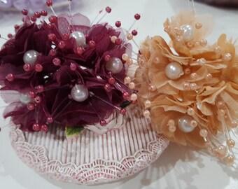 6 Small Beaded Organza Flowers-Organza Beaded Flower 004/Bridal head pieces