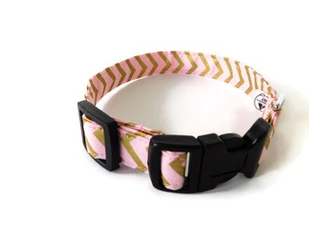 Pink and gold chevron collar, blush dog collar, gold zig zag cat collar,