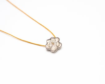 Magnolia Necklace, magnolia flower pendant, white flower necklace, magnolia flower, small flower pendant