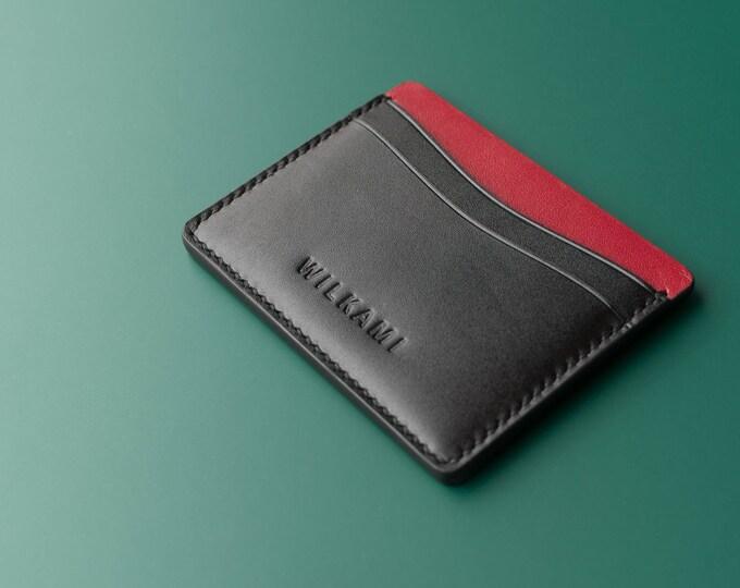 Hand Sewn Leather Card Holder - Slim Leather Wallet - Handmade Wallet - Hand Stitched Wallet - Men Women Wallet - Simple Card Holder