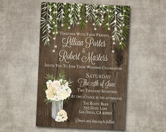 Wedding Invitation White Cream Greenery Floral Barn Wood Roses Natural Rustic Country String Lights Printable or Printed I customize it!
