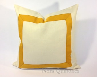 Decorative Throw Pillow Cover White Cotton Canvas with Mustard Yellow Grosgrain Ribbon Applique- Cushion Cover
