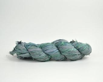 Mermaid Blue Sari Silk Ribbon Yarn, 100 grams (3.5oz), 6 Weight (Super Heavy)