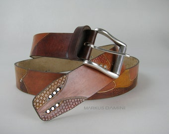 Brown belt leather, very stable, tooled leather by the shoulder portion of the bull, drawn, and colored in variations of Brown