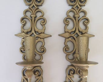 Pair of Burwood Products plastic wall taper candle holder