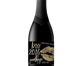 New Year's Party, New Year Champagne Label, Kiss 2016 Goodbye, Wine Label, Party, Gift, Party Decor