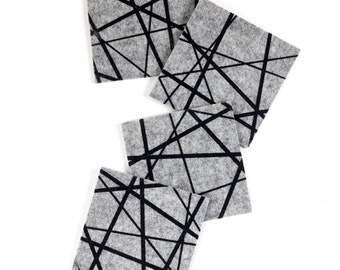 Modern Coasters / Drink Coasters / Mid Century Modern / Housewarming Gift / Felt Coasters / Trivet / Black and Gray
