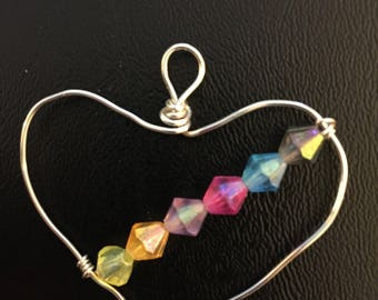 Rainbow Beaded Heart Pendant
