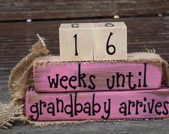 Vintage Grandparent Countdown Block Set/Weeks Until We're Grandparents/New Baby Countdown  -  pink