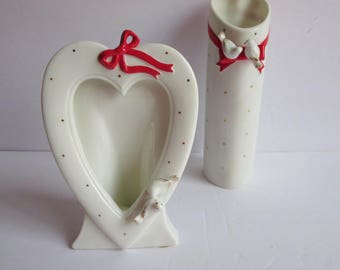 Vintage Kato Kogei Heart Shaped Hand Painted Bud Vase & Picture Frame - Raised Doves And Red Ribbon - Made in Japan - Valentines Day Gift