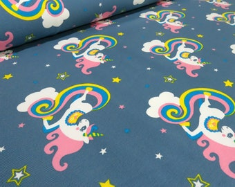 Fabric Cotton Jersey Unicorn cloud Cloud Rider star blaugrau stained (15,80 EUR / meter)